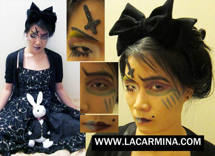 goth alice in wonderland, asymmetrical makeup, TOKYO EVIL QUEEN VIDEO! SUGARPILL MAKEUP TUTORIAL, FEATHERED EYELASHES, GOTH BLACK LIPSTICK & MINIONS. JAPANESE tv, BLACK GOTH LIPSTICK, EXTREME FAKE EYELASHES, FEATHERED EYELASHES, glittery mineral eye makeup, heart of the ocean Titanic necklace, funny comedy beauty demo, innocent world gothic lolita dress