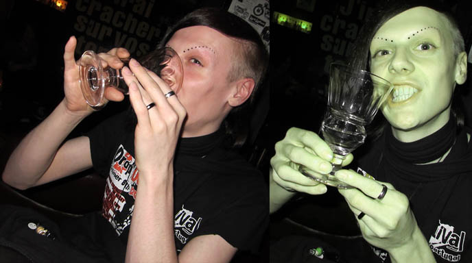 TOKYO ABSINTHE: BAR TRAM IN EBISU. WHERE TO FIND JAPANESE ABSINTHE, LEGAL LIQUOR IN JAPAN. goth boy, shaved head, goth clubs and bars in tokyo, transsexual bars and parties, gothic harajuku style hair makeup