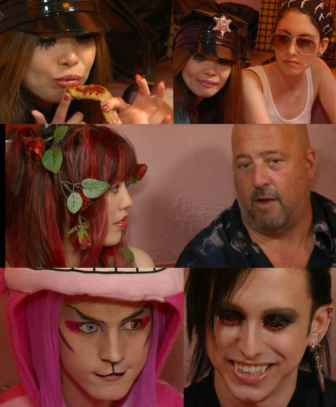 cheshire cat costume, pink cat halloween cosplay, dracula boy cute, goth guys, ANDREW ZIMMERN'S BIZARRE FOODS TOKYO: VIDEO OF TRAVEL CHANNEL TV SHOW, JAPAN JAIL THEME RESTAURANT WITH LA CARMINA, weird theme restaurants book, maid cafes, episode of tokyo bizarre world, andrew zimmern stream download episodes, travel tv show host, crazy extreme foods tour, alcatraz er in shinjuku