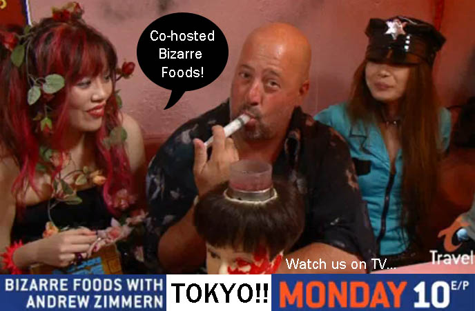 LA CARMINA'S BIZARRE FOODS TOKYO EPISODE AIRS MONDAY 10PM ON TRAVEL CHANNEL, Andrew Zimmern bizarre world, discovery channel, weird eats tokyo food, strange japanese foods, alcatraz er theme restaurant, travel tv host, andrew zimmern eating, mannequin bloody head drink