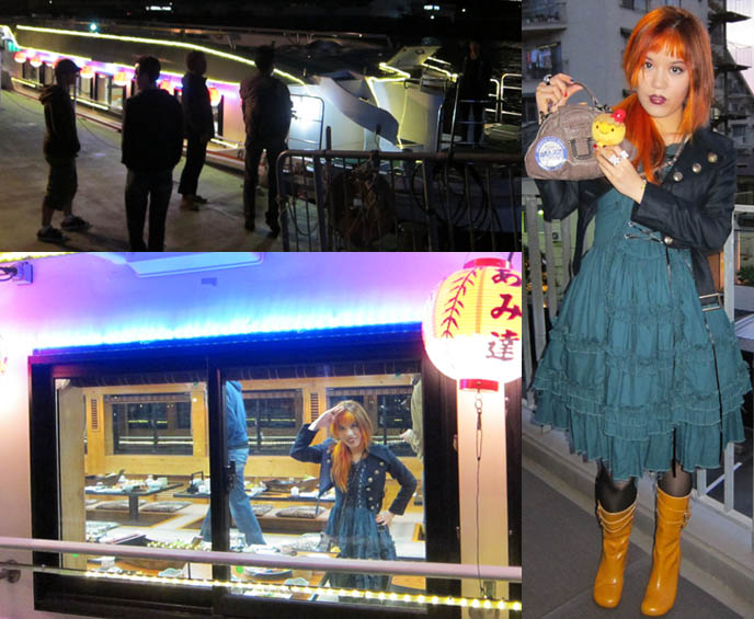 ANTOINE DE CAUNES, FRENCH TV HOST OF EUROTRASH & CANAL PLUS TOKYO DOCUMENTARY. carina e arlequin dress, takoyaki stuffed toy, yellow fluevog boots, ODAIBA DINNER BOAT CRUISE & KARAOKE, TOKYO BAY activities, boat tour, bright lights at night tokyo ocean, nightlife photos