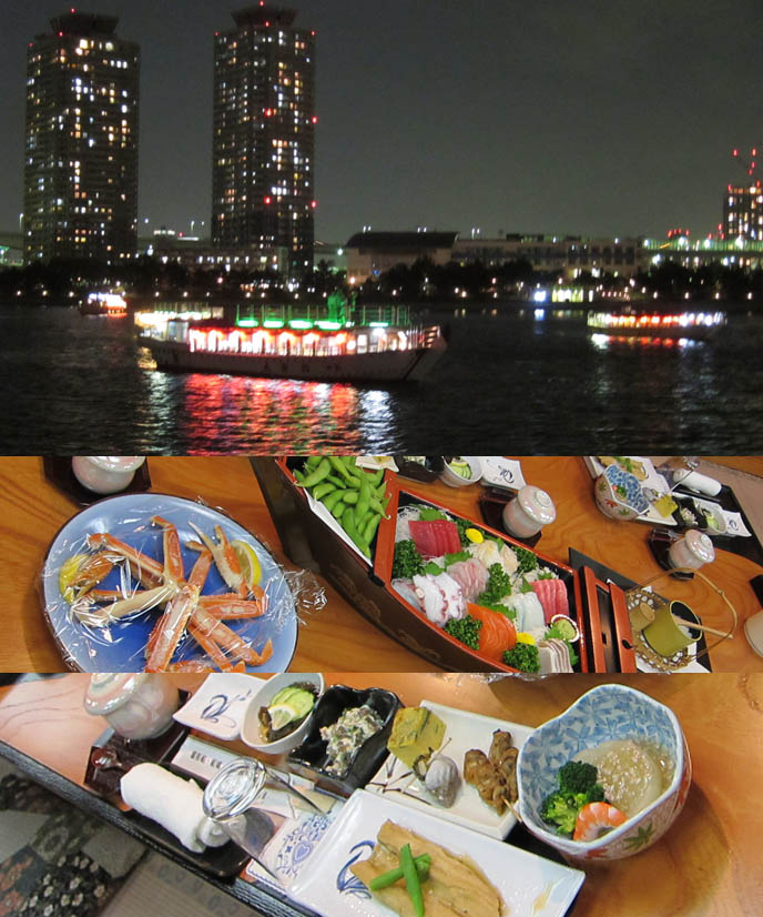 traditional japanese meal, kaiseki, tempura sashimi crab, ANTOINE DE CAUNES, FRENCH TV HOST OF EUROTRASH & CANAL PLUS TOKYO DOCUMENTARY. ODAIBA DINNER BOAT CRUISE & KARAOKE, TOKYO BAY activities, boat tour, antoine de caunes paris television presenter, actor, writer and film director