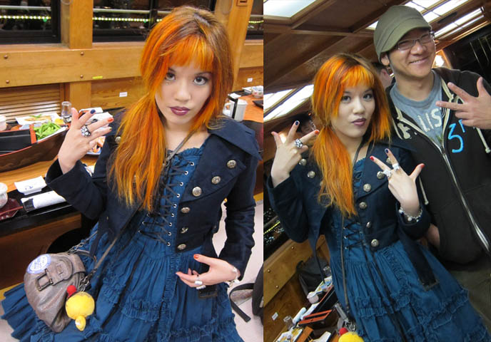 alice and the pirates jacket, carina e arlesquin dress, lolita fashion outfit posts, daily lolita, ANTOINE DE CAUNES, FRENCH TV HOST OF EUROTRASH & CANAL PLUS TOKYO DOCUMENTARY. ODAIBA DINNER BOAT CRUISE & KARAOKE, TOKYO BAY activities, boat tour, orange dyed hair