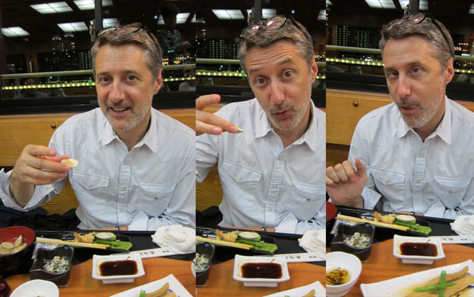 ANTOINE DE CAUNES, FRENCH TV HOST OF EUROTRASH & CANAL PLUS TOKYO DOCUMENTARY. man making funny faces while eating, oyster slurping, ODAIBA DINNER BOAT CRUISE & KARAOKE, TOKYO BAY activities, boat tour, antoine de caunes paris television presenter, actor, writer and film director
