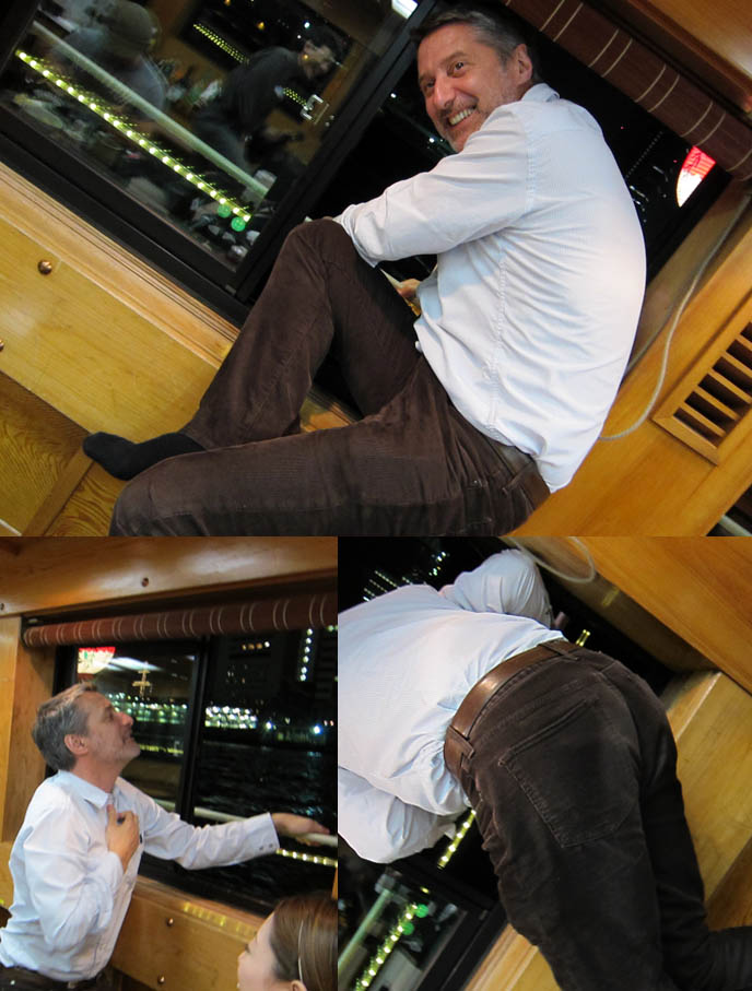 ANTOINE DE CAUNES, FRENCH TV HOST OF EUROTRASH & CANAL PLUS TOKYO DOCUMENTARY. funny humor host, jumping out of boat window, ODAIBA DINNER BOAT CRUISE & KARAOKE, TOKYO BAY activities, boat tour, antoine de caunes paris television presenter, actor, writer and film director