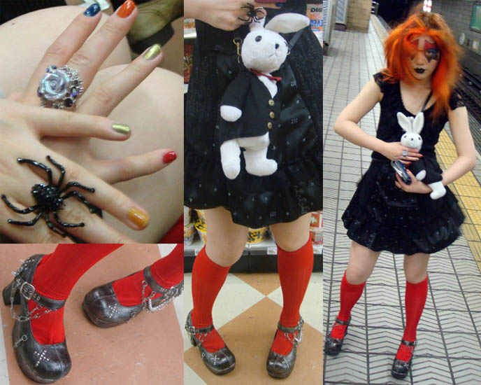osaka subway train tracks, red knee high socks, cute mary janes goth shoes yosuke, kiss makeup, ace frehley, kiss eye makeup costume halloween, BLACK VEIL OSAKA, DJ TAIKI'S GOTH CLUB NIGHT. KOZI OF MALICE MIZER, FU-KI vocalist OF visual kei band BLOOD, DARK MARCHEN AT GOTHIC CYBER INDUSTRIAL PARTY. Territory occult store, cute Lolitas Japan, cosplayers, Japanese Rave