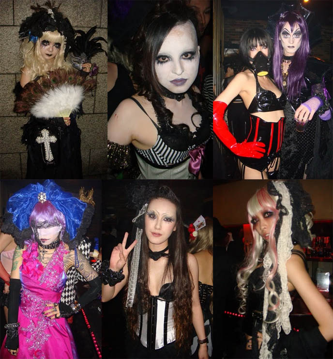 halloween goth girl costumes, white facepaint, visual kei cosplayers, club neo osaka, black veil goth party, BLACK VEIL OSAKA, DJ TAIKI'S GOTH CLUB NIGHT. KOZI OF MALICE MIZER, FUKI OF BLOOD, DARK MARCHEN AT GOTHIC CYBER INDUSTRIAL nightclub. Territory occult store, cute Lolitas Japan, cosplayers, Japanese Rave