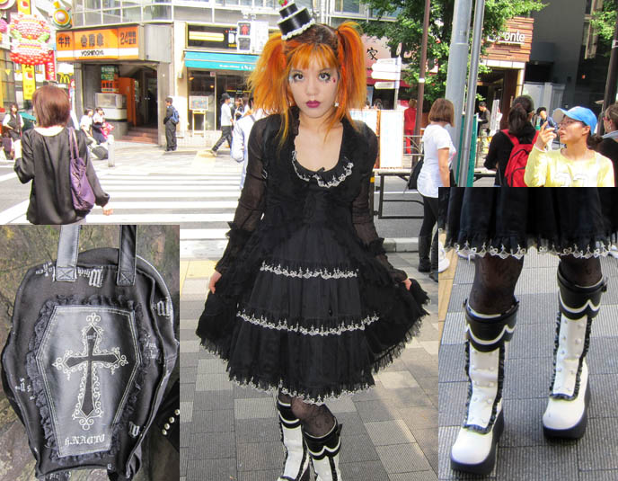 orange hair, alice and pirates boots, innocent world dress, h naoto coffin backpack, CNN INTERNATIONAL & CNNGO TV SHOW: TOKYO GOTH FASHION DESIGNER KENZO-A, TAKUYA ANGEL HARAJUKU SHOP, kenzo stigmata rituals gothic fashion show, la carmina, little cake lolita hat, agent lover, pretty lolita girls, japanese harajuku street style book
