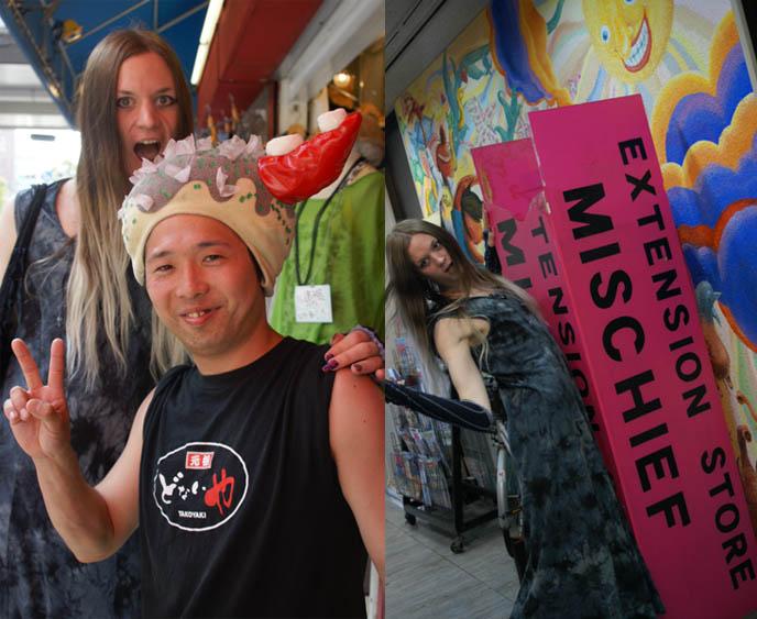 takoyaki costume in osaka, funny cosplay, crazy japanese man wearing octopus mask, RIDICULOUS STORE: AMERIKAMURA & SHINSAIBASHI SHOPPING, OSAKA'S HARAJUKU. WEIRD JAPAN LOVE HOTEL, store guide, women's clothing osaka, shopping map, eating from takoyaki food stall