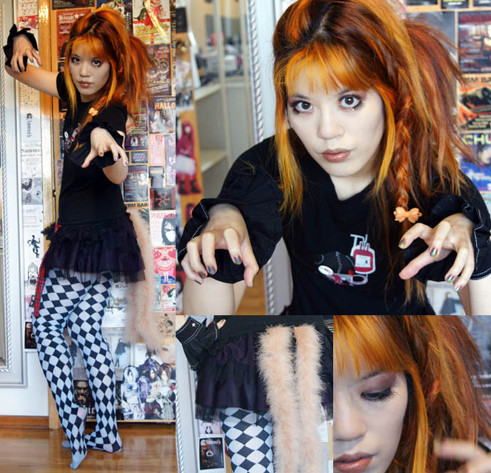 diamond print tights, pierrot costume, fox tail fashion, lolita skirt, mall goths, gothic emo makeup, eyeshadows fake lashes japan, orange hair girl, dyed orange hairstyle, teenage wolfpack, werewolves haunt high schools, san antonio texas, TWILIGHT MAKEUP TUTORIAL: VAMPIRE & WEREWOLF MAKEUP TECHNIQUES. HOW TO: BLOODY DRIPPING LIPS, VAMPIRE EYE Shadow, ECLIPSE, NEW MOON FILM.