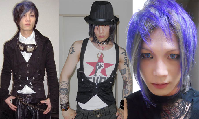 blue hair japanese boy, asian blue contact lenses, STEAMPUNK IN JAPAN! KENNY CREATION: ELEGANT GOTH ARISTOCRAT FASHION, HARAJUKU MENS CLOTHING & STREET STYLE. steampunk clothing where to buy, shopping, Victorian mens vests and goggles