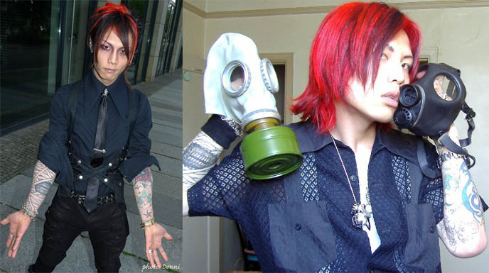 japanese boy with bright red hair, hide x japan, cute japanese boys harajuku fashion, punk boys tokyo, STEAMPUNK IN JAPAN! KENNY CREATION: ELEGANT GOTH ARISTOCRAT FASHION, HARAJUKU MENS CLOTHING & STREET STYLE. steampunk clothing where to buy, shopping, Victorian mens vests and goggles