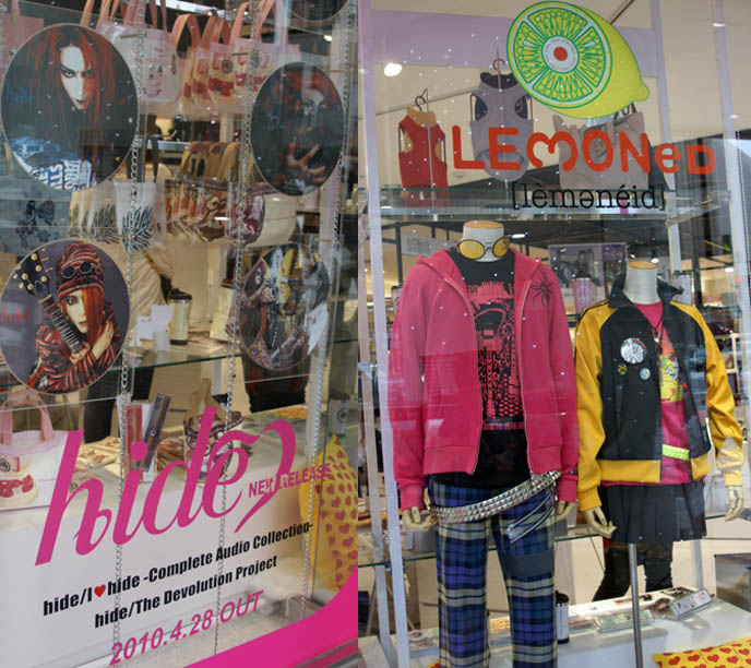 X JAPAN NORTH AMERICAN TOUR ANNOUNCED. HIDE IS ALIVE: MEMORIAL MERCHANDISE AT MARUI ONE SHINJUKU, HIDE'S LEMONED SHOP IN TOKYO. buy hide tshirts and cds, X Japan north american tour, press conference announcement, concert tour dates 2010, visual kei jrock band coming to america, canada, new world tour xjapan