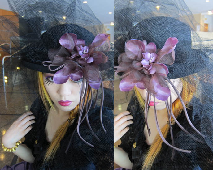 steampunk makeup, black veil brides eye makeup, eyeshadow, purple lips, womens steampunk clothing, big hat, kentucky derby hat, day at the races, GOTH VICTORIAN VEIL & BOWLER HAT. GOTHIC LOLITA, STEAMPUNK EVENTS IN VANCOUVER CANADA. steampunk neo victorian fashion accessories, diy tutorial steampunk jewelry