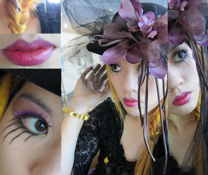 steampunk makeup eyes, black veil brides eye makeup, gothic lolita eyeshadow, purple lips,  herringbone or fishbone braiding, fishtail braid, womens steampunk clothing, big hat, kentucky derby hat, day at the races, GOTH VICTORIAN VEIL & BOWLER HAT. GOTHIC LOLITA, STEAMPUNK EVENTS IN VANCOUVER CANADA. steampunk neo victorian fashion accessories, diy tutorial steampunk jewelry