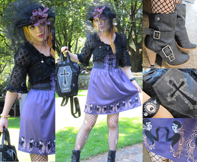 steampunk shoes boots, womens steampunk clothing, GOTH VICTORIAN VEIL & BOWLER HAT. GOTHIC LOLITA, STEAMPUNK EVENTS IN VANCOUVER CANADA. people's market dress, coffin h.naoto backpack, goth coffin purse, 1920s flapper purple silk dress, steampunk neo victorian fashion accessories