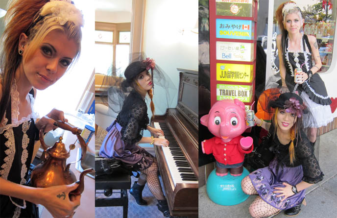 Sato-chan and Satoko-chan, pink elephant mascots japan, japanese convenience store, pink elephant statue, chu hi convini alcohol, victorian girl playing piano, barclay manor vancouver, victorian mansion for rent, brass old fashioned tea pot, gothic lolita hair, makeup, black and white lace dress jsk