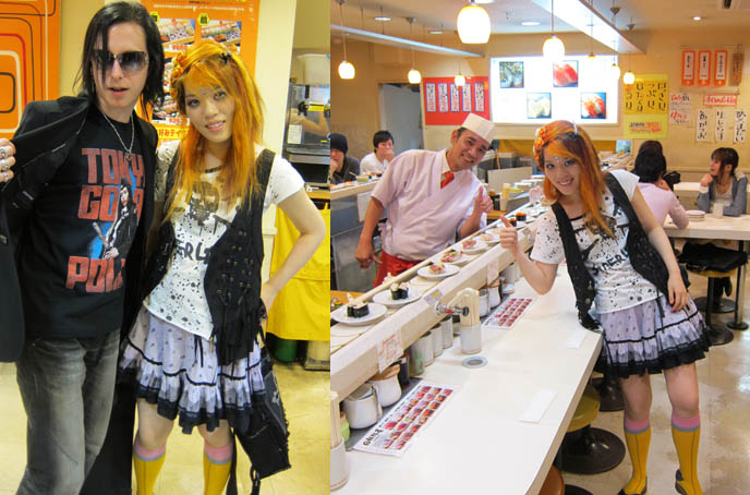 where to eat sushi in tokyo, conveyer belt sushi parlors, JAPANESE food shinjuku, DOLL EYELASHES & CHEAP SUSHI IN SHINJUKU. PURIKURA GYARU STICKER BOOTHS IN TOKYO GAME CENTER, ABSINTHE JELLY DESSERT.