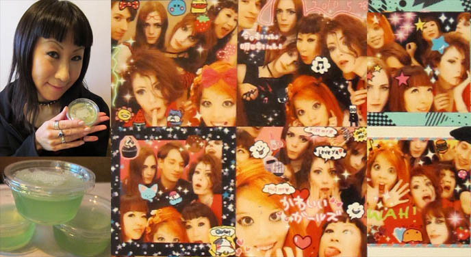ABSINTHE JELLY DESSERT. karaoke in japan, purikura print outs, sticker pictures of friends, photobooth in tokyo, big eyes kawaii girls, false eyelashes, asian poses, japanese v fingers symbol, tokyo cute girls in kabukicho, harajuku fashion snaps, gal fashion shibuya 109, PURIKURA GYARU STICKER BOOTHS IN TOKYO GAME CENTER.