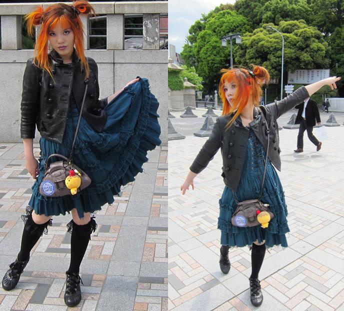 Gothic Lolita turquoise dress, rare JSK, black leather military jacket, goth knee high socks, carina e arlequin, jingu bridge harajuku street style, jingubashi, harajuku cosplayers, tokyo crazy teen fashion NEW TOKYO TV HOSTING JOB: DUTCH PEPSI WEB EPISODES ABOUT JAPAN POP CULTURE & FASHION! AMSTERDAM, NETHERLANDS TRAVEL HOST.