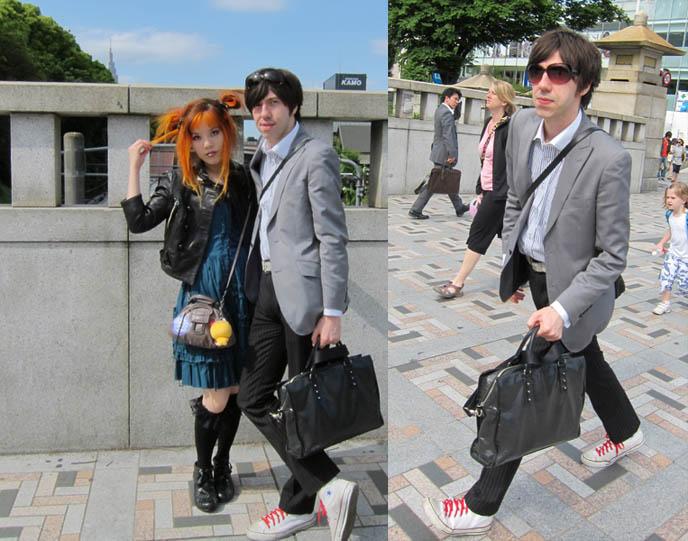 mod suit and briefcase, NEW TOKYO TV HOSTING JOB: DUTCH PEPSI WEB EPISODES ABOUT JAPAN POP CULTURE & FASHION! AMSTERDAM, NETHERLANDS TRAVEL HOST Bo Jeuken. Gothic Lolita turquoise dress, rare JSK, carina e arlequin, jingu bridge harajuku street style, jingubashi, harajuku cosplayers, tokyo crazy teen fashion
