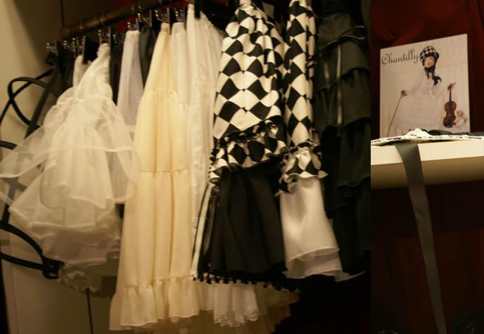 OSAKA ATELIER PIERROT & CHANTILLY: CLASSICAL LOLITA BOUTIQUE. GOTHIC LOLITA VICTORIAN ARISTOCRAT SKIRTS, JSK DRESSES. sweet LOLITA STORES & SHOPPING MAP, SHINSAIBASHI JAPAN. japanese lolita clothing shops, gosurori fashion osaka, fumiko chantilly, pierrot diamond print skirt, bonnets, lolita accessories and jewelry, egl, ega, where to buy goth punk harajuku clothes in osaka, alternative stores.