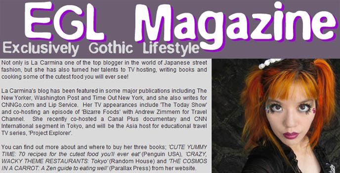 egl magazine, gothic lolita cake hat, interview with la carmina, lolita blogger, goth lolita blogs, japanese street fashion bloggers, top style blogger, fashion blogs rank, travel tv host, jpop anime manga tv show