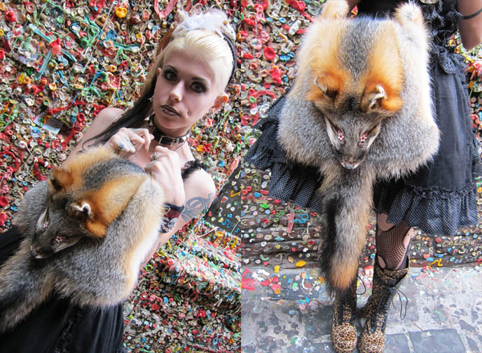 fox taxidermy purse, fur bags, purses with animal head, GOTH FEATHER EYELASHES, STEAMPUNK LIP SERVICE SKIRT, GREEN LIPSTICK, FEATHERED BOA. black gothic lolita dress, japan kanji tattoos, D'ESPAIRSRAY VISUAL KEI CONCERT OUTFIT. dramatic false eyelashes gothic cyber, how to put on fake lashes, japanese goth fashion, harajuku style, inspiration makeup photos