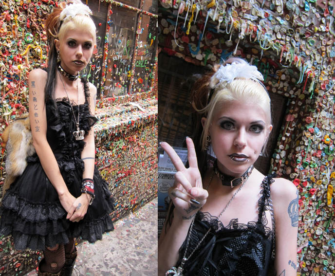 gothic lolita model, kuro lolita, black jsk dress, taxidermy purse, fur bags, purses with animal head, GOTH FEATHER EYELASHES, STEAMPUNK LIP SERVICE SKIRT, GREEN LIPSTICK, FEATHERED BOA. black gothic lolita dress, japan kanji tattoos, D'ESPAIRSRAY VISUAL KEI CONCERT OUTFIT. dramatic false eyelashes gothic cyber, how to put on fake lashes, japanese goth fashion, harajuku style, inspiration makeup photos
