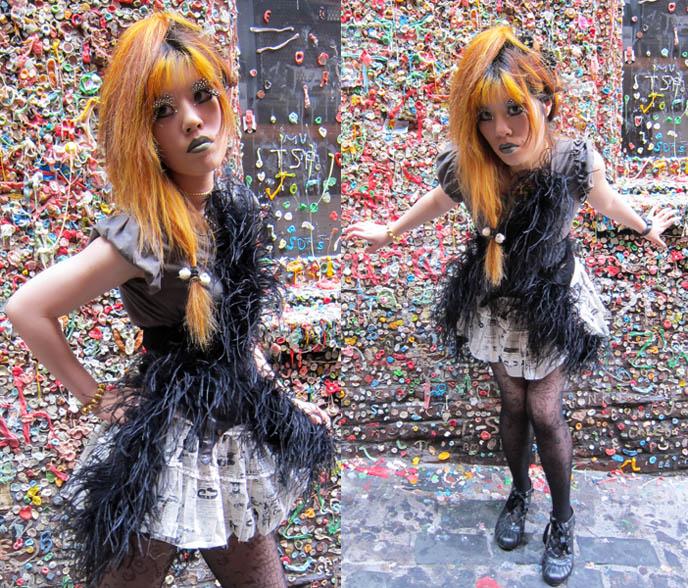 GOTH FEATHER EYELASHES, STEAMPUNK LIP SERVICE SKIRT, GREEN LIPSTICK, FEATHERED BOA. black gothic lolita dress, japan kanji tattoos, D'ESPAIRSRAY VISUAL KEI CONCERT OUTFIT. dramatic false eyelashes gothic cyber, how to put on fake lashes, japanese goth fashion, harajuku style, inspiration makeup photos, jrock stage costumes, orange hair girl