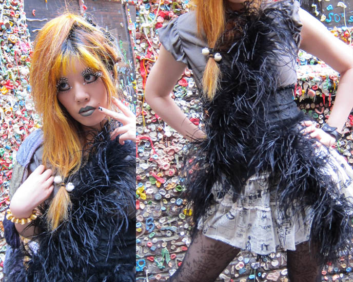 inspiration makeup photos, jrock stage costumes, orange hair girl, GOTH FEATHER EYELASHES, STEAMPUNK LIP SERVICE SKIRT, GREEN LIPSTICK, FEATHERED BOA. black gothic lolita dress, japan kanji tattoos, D'ESPAIRSRAY VISUAL KEI CONCERT OUTFIT. dramatic false eyelashes gothic cyber, how to put on fake lashes, japanese goth fashion, harajuku style