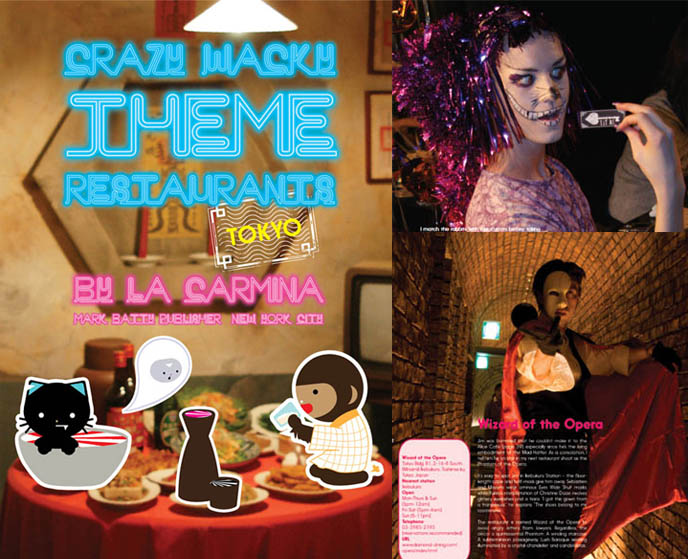 crazy wacky theme restaurants book by La Carmina, book cover, cute yummy time, cat cafe japan tokyo japanese cat cafes cosplay theme restaurants kagaya bar izakaya weird strange bizarre foods animal restaurant crazy wacky shinjuku calico cat puppets costumes frog  pub bar craziest dress-up crossdressing book travel attractions tourism visit