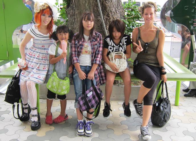 laforet harajuku outside department store, japanese kids v-fingers posing, TOKYO TRAVEL TV SHOOT HOSTING & ARRANGING: DUTCH PEPSI. SEGA GAME CENTER, HARAJUKU FASHION GUIDE, japan youth clothing fashion expert, street style, weird japan, crazy japanese activities, takeshita doori, television filming movie, netherlands, bo jeuken, watkijkjij videos netherlands, strange traveling