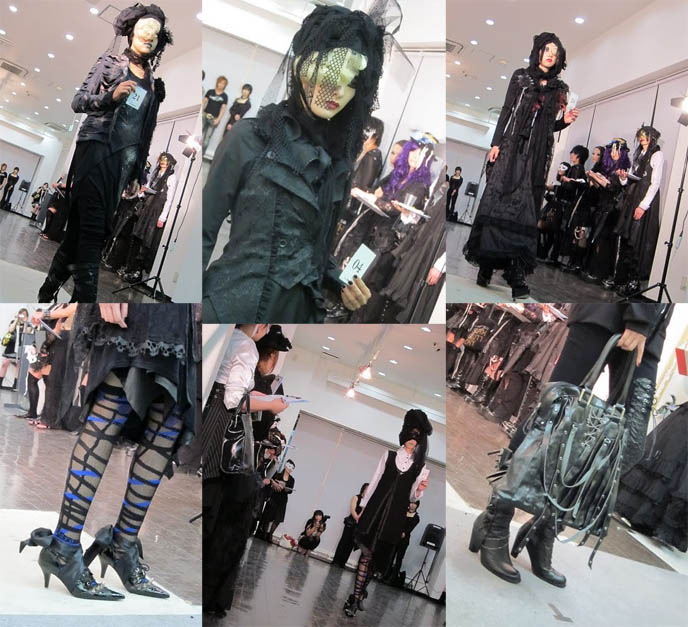 H.NAOTO GOTH NIGHT TOKYO: 2010 FASHION RUNWAY SHOW, NAOTO HEAVEN HARAJUKU. MODERN JAPANESE GOTHIC DECONSTRUCTED CLOTHING. Hirooka naoto, goth alternative modelling, s-inc, otakon, video japan goth models, avantgarde weird crazy experimental clothes,