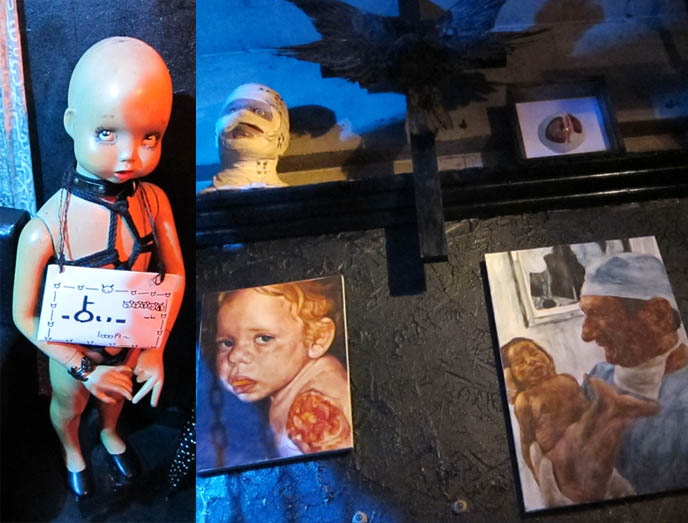 baby mannequin, FETISH BDSM BAR IN TOKYO, JAPAN: GUINEA PIG. STRANGEST, WEIRDEST GOTH BARS IN KABUKI-CHO, SHINJUKU. Crazy theme cafes, japanese weird places, bizarre foods, golden gai drinking, punk bartender, rare horror b-movie posters