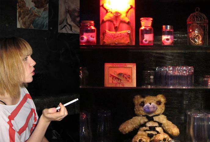 FETISH BDSM BAR IN TOKYO, JAPAN: GUINEA PIG. STRANGEST, WEIRDEST GOTH BARS IN KABUKI-CHO, SHINJUKU. Crazy theme cafes, japanese weird places, bizarre foods, golden gai drinking, punk bartender, rare horror b-movie posters