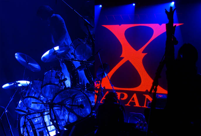 x japan stage decoration, movie dvd tour video, yoshiki at drum kit standing, hot jrockers, cute jrock boys, X JAPAN LIVE PERFORMANCE PHOTOS,  CONCERT REVIEW photos of yoshiki, NORTH AMERICAN TOUR 2010, VANCOUVER. drummer pianist japanese rock stars YOSHIKI, TOSHI, SUGIZO. heath, pata, x japan concerts stage outfits, jrock concert, エックス ジャパン, visual kei artists bands music, buy j-rock tours concerts, xjapan tickets