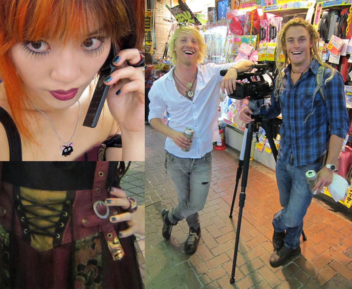 fashion blogger outfit posts, famous style blog, SHINJUKU HOST CLUBS. AUSTRALIAN TRAVEL TV SHOW VISITS GOLDEN GAI, PUNK ROCK & VISUAL KEI BARS KABUKO-CHO, creepy goth girl makeup, long spider eyelashes, fake eyelash cool japanese style, ozz croce, ozz on japan cyber female clothing brand, candy spooky theater cosplay, two tims sony australia, elsewhere productions hosts