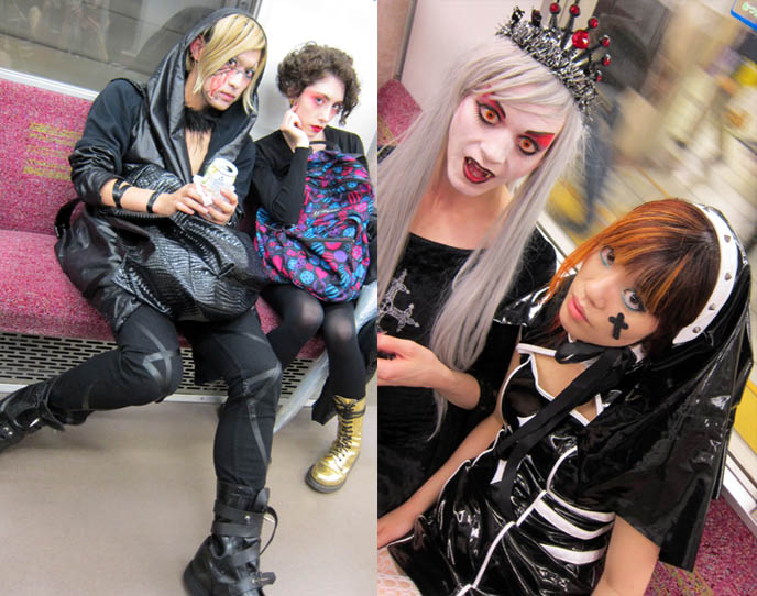 riding subway in tokyo, jr yamanote, subways cars inside, weird people on trains, TORTURE GARDEN JAPAN: HALLOWEEN FETISH BDSM PARTY, AKASAKA EREBOS IN TOKYO. 着ぐるみ KIGURUMI & SEXY JAPANESE GIRLS IN LEATHER. goth clubs shinjuku, gothic lolita punk events, s&m, slaves, alternative parties, nightlife, nightclubs tokyo