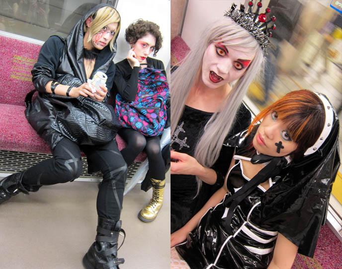 riding subway in tokyo, jr yamanote, subways cars inside, weird people on trains, TORTURE GARDEN JAPAN: HALLOWEEN FETISH BDSM PARTY, AKASAKA EREBOS IN TOKYO. 着ぐるみ KIGURUMI & SEXY JAPANESE GIRLS IN LEATHER. goth clubs shinjuku, gothic lolita punk events, s&m, slaves, alternative parties, nightlife, nightclubs tokyo