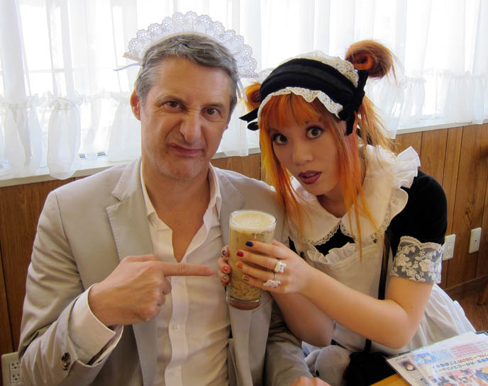 CUTE JAPANESE MAIDS AT AKIHABARA MAID CAFE, SCHOOL THEMED RESTAURANT IN TOKYO. FAMOUS COSPLAYER YUNMAO AYAKAWA. cosplay outfits, sexy french maid costumes, TOQUE DE TOKYO, ANTOINE DE CAUNES JAPON DOCUMENTAIRE: CANAL PLUS. FRENCH TRAVEL TV SHOW, CO-HOSTED BY LA CARMINA. CANAL + DOCUMENTARY WITH Eurotrash host, peter stuart, tv programmes, tour à Tokyo, rapido television, japanese fashion style, pop culture, weird japan, tv show, documentaire, tv host, CUTE, SEXY JAPANESE GIRLS lolita dress. travel show host, CANAL+
