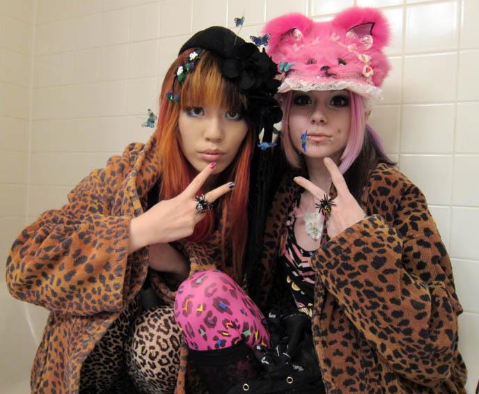 leopard print bathrobes, tights