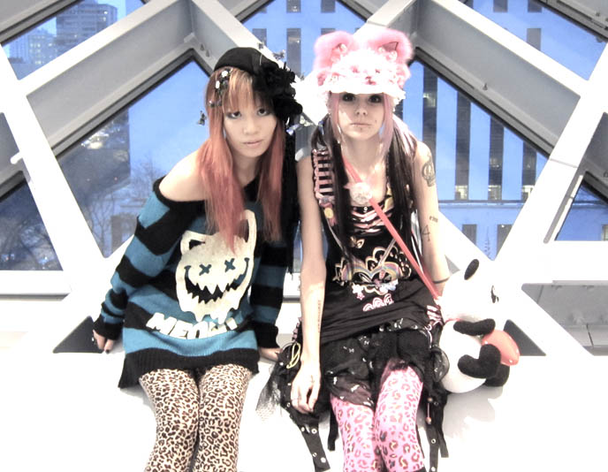 HARAJUKU PUNK LEOPARD FASHION. LISTEN FLAVOR CAT SWEATER, ANIMAL PRINT LEGGINGS. BIG EYES JAPANESE MAKEUP TECHNIQUES. Cute jpop girls, gyaru, japan gal fashion, harajuku girls, custom hat, emily temple cute, alice and the pirates, shiny black ankle boots, colorful cybergoth, gothic clothing for sale, seattle public library, red room, rem koolhaus, architecture modern design libraries