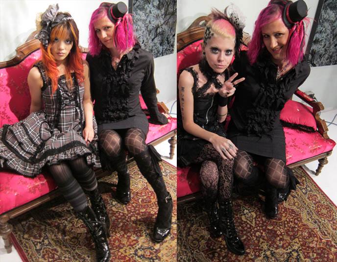 GOTHIC LOLITA TWIN GIRLS PHOTOSHOOT, UNDEAD JAPANESE BJD DOLLS. ANDIE DEROUX ART STUDIO IN SEATTLE. AURAL VAMPIRE, BIRTHDAY MASSACRE, DOMMIN, BLACK VEIL BRIDES CONCERT TOUR 2010. SEATTLE GOTH PUNK & JAPANESE BANDS, artist model andie deroux, transsexual alternative models, transgendered, pink dyed hair. seattle art studios for rent, galleries in washington state, photography, paint, resin, sculpture and bas-relief