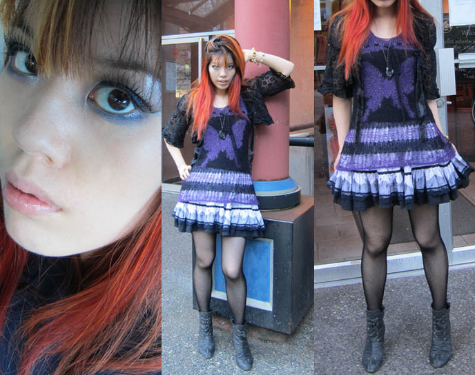 heavy metal hairstyles. JAPANESE CUTE GOTH GIRLS OUTFIT POST, RED ORANGE DYED HAIRSTYLE.