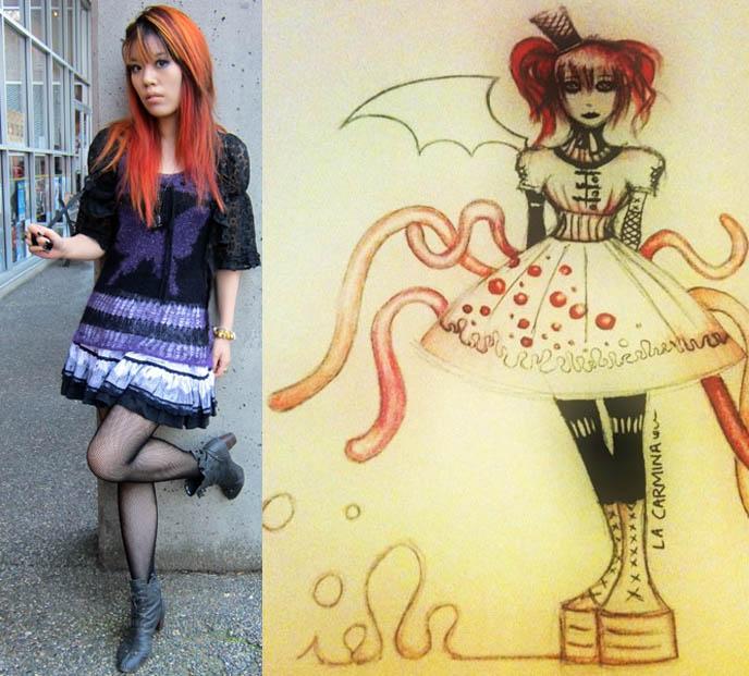 anime girl art, graphic illustration, design, cute kawaii japanese art, fanart, gothic lolita girl, deviantart, gotholi drawings, drawing of la carmina, fan art, lolita dresses sketch, sketches, japan manga how to draw characters, faces