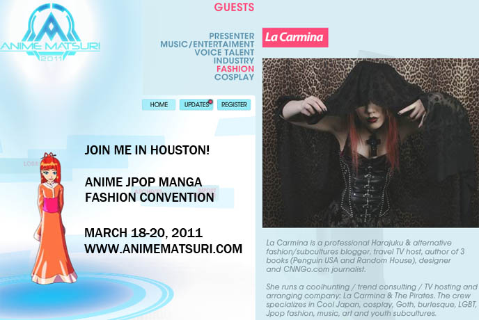 Japanese street fashion show, ANIME MATSURI 2011: LA CARMINA & H.NAOTO AT JAPANESE CONVENTION IN HOUSTON, TEXAS! HANGRY & ANGRY, SIXH HARAJUKU STORES, buy tickets, dates, event information for anime matsuri 2011, march 18 to 20, japanese fashion expert, japan fashion speaker, pop culture consultant, DESIGNER GASHICON. H.NAOTO FASHION SHOW, HARAJUKU LATEST PUNK STREET STYLES, CUTE JAPANESE GIRL MODELS. H.NAOTO sixh, s-inch, anime conventions selling gothic lolita clothes, elegant goth aristocrat, punk japanese clothes for sale, gothic lolita punk fashion harajuku h.naoto sixh hangry angry gashicon cute japanese girls models lolitas pretty kawaii adorable girl young teens schoolgirls modeling b-52s runway show presentation collection preview tokyo street style cool new fashions latest trendy fads streetwear s-inc goth girls interview designer manga anime jpop