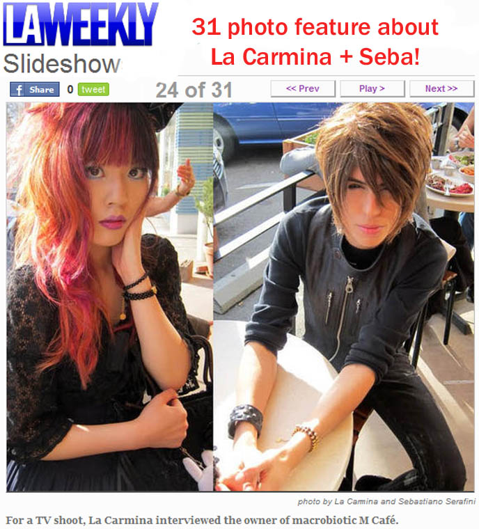 LA WEEKLY SLIDESHOW: FEATURED IN 31-PHOTO ARTICLE! NORWAY TV SHOW ABOUT TOKYO, ARI & PER, AIRS FEB 25 ON NRK. fashion Nightlife Blogger La Carmina and Actor Model Sebastiano Serafini at Work and Play in L.A., Japanese television drama Nihonjin no Shiranai Nihongo, los angeles weekly press, photos, famous bloggers, fashion blogs