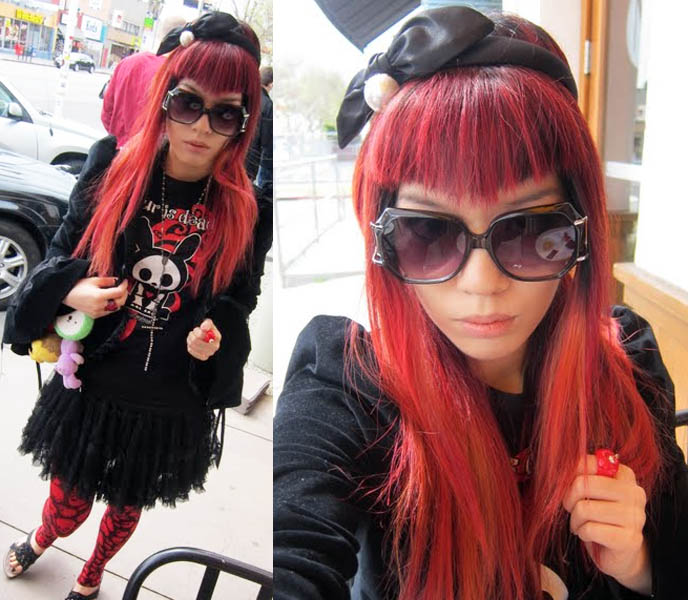 Toni Guy Academy Red Dyed Hair With V Shaped Bangs Visual Kei