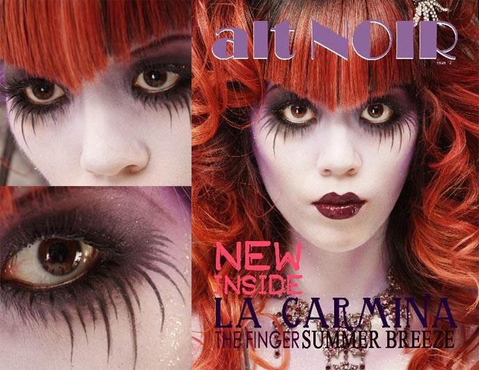 Fashion Beauty Blog Names: LA CARMINA ON ALT NOIR GOTH MAGAZINE COVER! GOTHIC BEAUTY